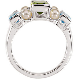 Sterling Silver, Freshwater Cultured Pearl, Swiss Blue Topaz, Peridot, & Diamond Ring