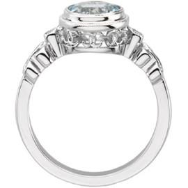 Aquamarine & Diamond Ring 14K Gold