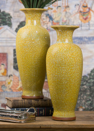 Yellow Crackle Chinese Porcelain 20.5 Inch Table Vase