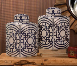 Blue and White Chinese Porcelain 15 Inch covered, square Tea Jar, Geometric Pattern
