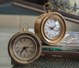 Indian Brass Case, Small 4 Inch Battery Operated Clock, Nickel Finish