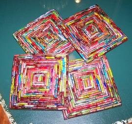 Benzgem Multi Color Woven Look Coaster Set