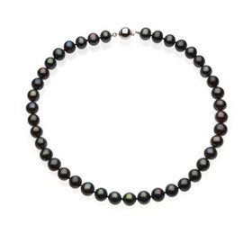 Black Freshwater - Near Round Cultured Pearl & Sterling Silver Strand Necklace