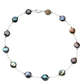 Black Freshwater - Cultured Coin Pearl & Sterling Silver - Station Necklace