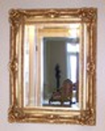 "A French Baroque Louis Quatorze Style, 7.5"" Oversized Frame, Large 51"" Drama Bevel Glass Antiqued Gold Mirror"