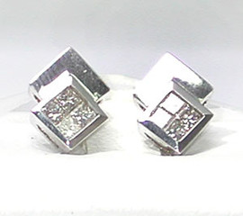 0.31 Carat Ladies Invisibly Set Princess Cut Diamond Earrings 18K White Gold