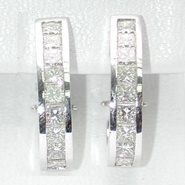 2.83 Carat Ladies Channel Set Omega Back Diamond Earrings 18K White Gold GIA VS2-SI1 Clarity G-H Color #E1604