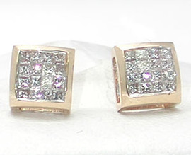 0.41 Carat Ladies Invisibly Set Square Shaped Diamond Earrings 18K White Gold