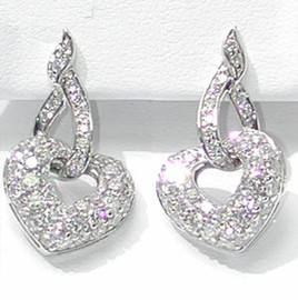 1.99 Carat Ladies Heart Shaped Diamond Pave' Dangle Earrings 18K White Gold