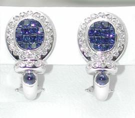 4.51 Carat Ladies Omega Back Oval Shaped Diamond & Blue Sapphire Earrings 18K White Gold GIA VS2-SI1 Clarity G-H Color #E4294