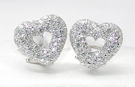 1.45 Carat Ladies Heart Shaped White Pave' Diamond & 18K White Gold Omega Clip Earrings
