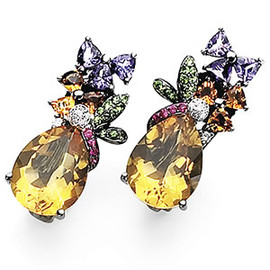 13.49 Carat Ladies Pear Shaped Citrine multi Color Sapphire and Diamond Dangle Earrings 18K black Gold GIA VS2-SI1 clarity G-H color #E5685