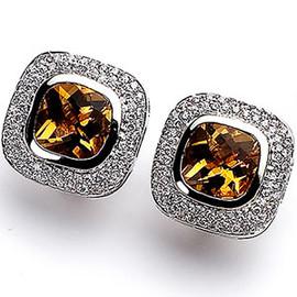 8.63 Carat Ladies Cushion Cut Bezel Set Citrine and Pave' Diamond Omega Back Earrings 18K GIA VS2-SI1 clarity G-H color #E5174
