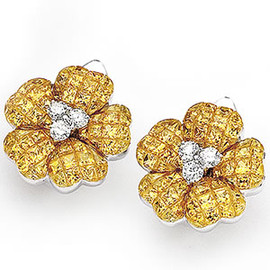 15.41 Carat Flower Design Yellow Sapphire & Diamond 18K Gold Omega Back Earrings