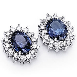 3.88 Carat Ladies Oval Shaped Blue Sapphire and Diamond Earrings 18K GIA VS2-SI1 clarity G-H color #E5744