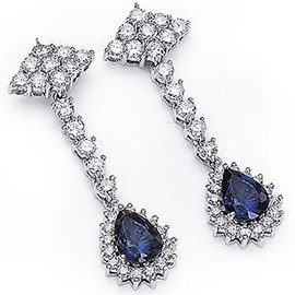 5.58 Carat Ladies Pear Shaped Blue Sapphire and Diamond Dangle Earrings 18k White Gold Made to Order