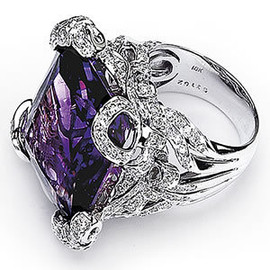 34.59 Ladies Emerald Shaped Large Oversized Amethyst 18k White Gold & micro Pave' set diamonds GIA VS Clarity & GIA G - H color.