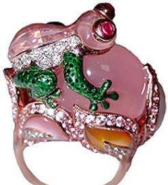 41.97 Carat Ladies Whimsical Diamond Green Enamel Rose Quartz Frog Ring 18k GIA VS2 - SI1 clarity G - H color