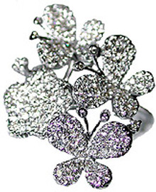 1.24 Carat Ladies Whimsical Diamond Butterfly Ring 18K White Gold