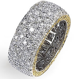 3.80 Carat Diamond, Wide Band Ring in White and Yellow diamonds 18k GIA VS2-SI1 clarity G-H color #R41378