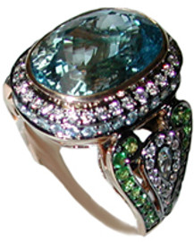 13.39 Carat Ladies Diamond Oval Blue Topaz Tsavorite and Blue Zircon Ring 18k GIA VS2-SI1 clarity G-H color #R61933