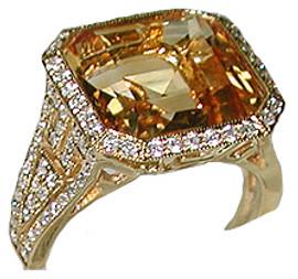 7.57 Carat Ladies Square Cut Citrine & Pave' Diamond Ring GIA VS2-SI1 clarity, G-H color 18k
