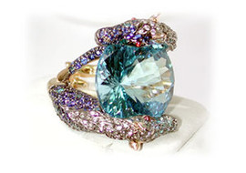 39.72 Carat Ladies Diamond, Round Blue Topaz and multicolored sapphire Ring 18k GIA VS2-SI1 clarity G-H color #R41648