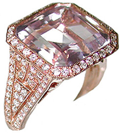 10.05 Carat Ladies Diamond & Square Cut Kunzite Ring 18k Rose Gold
