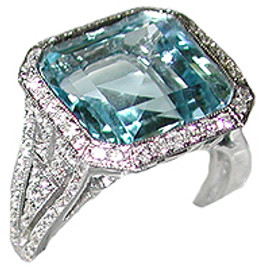 9.29 Carat Ladies Pave' Diamond & Square Blue Topaz Ring GIA VS2-SI1 clarity, G-H color 18K