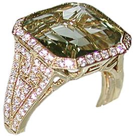 7.73 Carat Ladies Square Cut Green Amethyst & Pave' Diamond Ring 18k