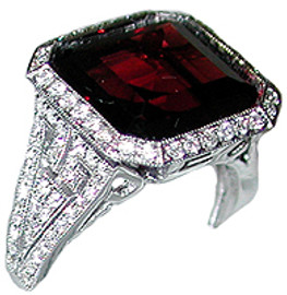 10.37 Carat Ladies Diamond & Square Cut Garnet Ring 18K White Gold
