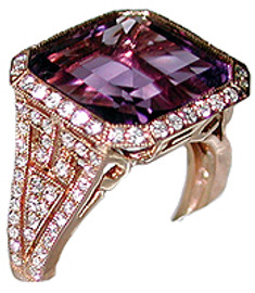 7.88 Carat Ladies Square Cut Amethyst & Pave' Diamond Ring 18k Rose Gold GIA VS2-SI1 clarity, G-H color