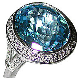 10.47 Carat Ladies Diamond & Oval Blue Topaz Ring 18K White Gold
