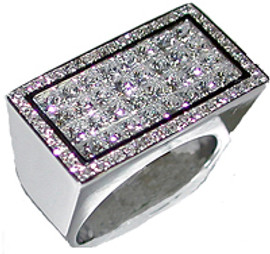 2.62 Carat Men's Princess Cut Diamond Large Oversized Ring 18k GIA VS clarity G-H color