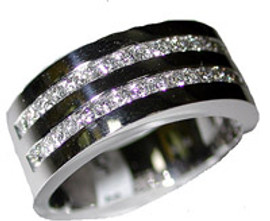 0.82 Men's Channel Set Diamond Wedding Band Ring 18k White Gold