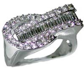 Men's Round White and Baguette Diamond Ring - 18k White Gold with GIA VS2 - SI1 Clarity G - H Color