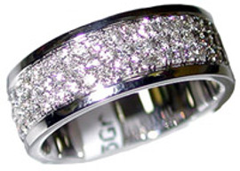 0.82 Men's Pave' Set Diamond Wedding Band Ring 18K White Gold
