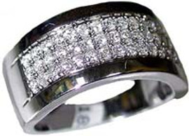 0.64 Carat Men's Pave' Diamond Wedding Band Ring 18K White Gold