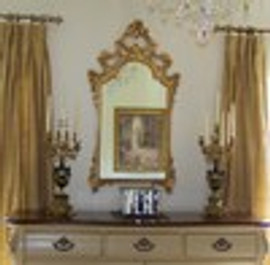 French Rococo Period Louis XV Hand Carved Reproduction Italian Made Parcel Gilt Mirror, Medium Size, 262