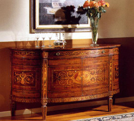 Hand Made Italy - 63 Inch Inlaid Marquetry - Demilune Chest