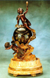 "Gilt Brass Ormolu, 29"" Crema Valencia, Cream Marble Mantel, Table Clock, 24 Karat Gold Finish and 8 Day Franz Hermle Movement - Handmade Reproduction of a 17th, 18th Century Dore Bronze Antique, 254"