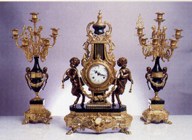 Antique Style French Louis Garniture, Gilt Brass Ormolu Nero Marquinia Italian Marble Mantel, Table Clock & Seven Light Candelabra Pair, French Gold Finish, Handmade Reproduction of a 17th, 18th Century Dore Bronze Antique, 247