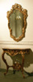 Hand Carved & Gilded - French 34 Inch Wall Mount Console With Mirror