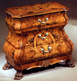 """Commode 3 Drawer Dutch Marquetry 25 x 13 x 25""""H"""