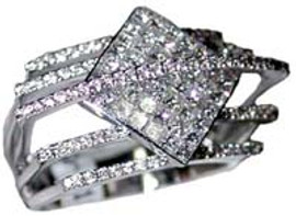 0.82 Carat Mens Geometric Pave' set Diamond Ring 18K White Gold