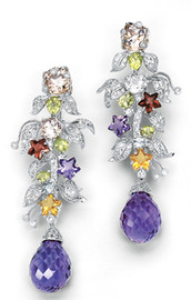 39.38 Carat Ladies Colored Sapphire, Morganite and Diamond Dangle Earrings featuring Amethyst Briolettes GIA VS2-SI1 clarity G-H color 18K #E8699