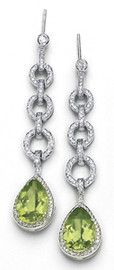 7.12 Carat Ladies Pear Shaped Peridot Pave' Diamond Dangle Earrings 18k White Gold Made to Order