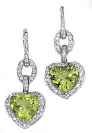 8.75 Carat Ladies Heart Shaped Peridot and Pave' Diamond Dangle 18k GIA VS2-SI1 clarity G-H color