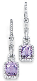 14.16 Carat Ladies Cushion Kunzite and Diamond Dangle Earrings GIA VS2-SI1 clarity G-H color 18k #E8335