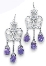 11.12 Carat Ladies briolette Amethyst & Diamond Chandelier Earrings 18K White Gold